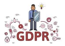 Affärsman med en sköld bland internet- och samkvämmassmediasymboler Reglering för skydd för allmänna data GDPR RGPD, DSGVO stock illustrationer
