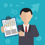 Affärsman med en uppgift som visar uppgift och analytisk plan modern design Arkivfoton