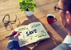 Affärsman med energi och miljö- begrepp Fotografering för Bildbyråer