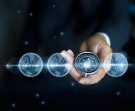 Affärsman med ett kompassinnehav i hand- och textordet, stjärnor på nattbakgrund arkivfoton