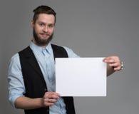 Affärsman med ett skägginnehavark arkivbilder