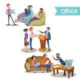 Affärsman med hållande samtal för underordnader stock illustrationer