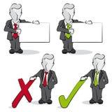 Affärsman med ja och inget begrepp Arkivbilder