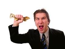 Affärsman med kontanta pengar arkivbilder