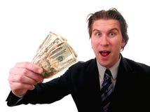 Affärsman med kontanta pengar arkivfoton