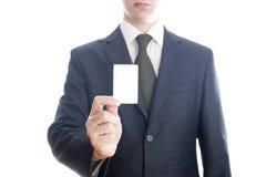 Affärsman med kortet Royaltyfri Bild
