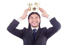 Affärsman med kronan Royaltyfri Fotografi