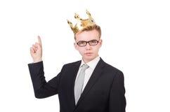 Affärsman med kronan Arkivfoton