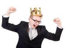 Affärsman med kronan Royaltyfri Foto