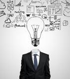 Affärsman med lightbulben Arkivbild