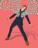 Affärsman med många dollar royaltyfri illustrationer