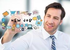 Affärsman med markören bak jobbklotter och signalljuset i oskarpt grått kontor royaltyfri illustrationer