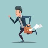Affärsman med portföljen sent som arbetar manen rusar in stock illustrationer