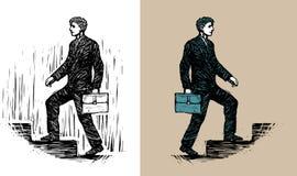 Affärsman med portföljen som uppför trappan går Royaltyfri Fotografi