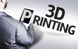 Affärsman med printingen för text 3d i en begreppsbild Arkivfoton