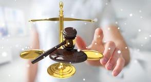 Affärsman med rättvisahammaren och tolkningen för vägningsvåg 3D Arkivbilder