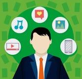 Affärsman med sociala massmediasymboler royaltyfri illustrationer
