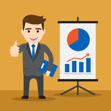 Affärsman med stigande en statistiks diagram Arkivfoto