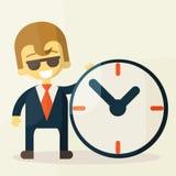 Affärsman med tid, affärsidé i upptaget royaltyfri illustrationer