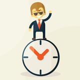 Affärsman med tid, affärsidé i upptaget vektor illustrationer