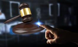Affärsman med tolkningen för rättvisahammare 3D Arkivfoton
