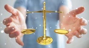 Affärsman med tolkningen för rättvisavägningsvåg 3D Royaltyfri Fotografi