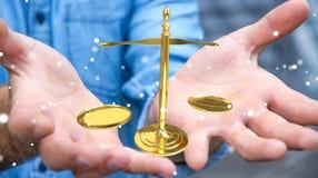 Affärsman med tolkningen för rättvisavägningsvåg 3D Arkivbilder