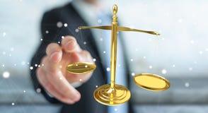Affärsman med tolkningen för rättvisavägningsvåg 3D Arkivbild