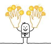 Affärsman med två stora guld- händer Royaltyfri Bild