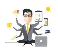 Affärsman With Multitasking stock illustrationer