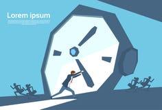 Affärsman No Time för pil för klocka för Push för affärsman upptagen royaltyfri illustrationer