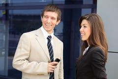 Affärsman och affärskvinna Arkivfoto