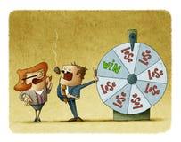 Affärsman och affärskvinna med en roulett av förmögenhet begreppet för bakgrund 3d framförde risk vit stock illustrationer