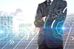 Affärsman och cyberspace arkivbilder