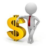 Affärsman- och dollarvalutasymbol vektor illustrationer