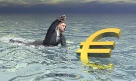 Affärsman och euro som sjunker - 3D framför vektor illustrationer