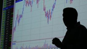 Affärsman och finansmarknadutbyte - graf lager videofilmer
