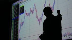Affärsman och finansmarknadutbyte - graf stock video