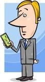 Affärsman och graf på minnestavlaPC Royaltyfri Bild