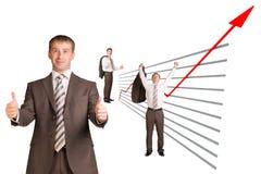 Affärsman och grafiskt diagram royaltyfria bilder