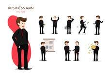 Affärsman och hans arbeten, presentation, vektortecken som arbetar, tecknad filmsamling stock illustrationer