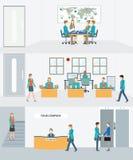 Affärsman och kvinna i inre byggnad stock illustrationer