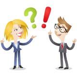 Affärsman och kvinnaFAQ royaltyfri illustrationer