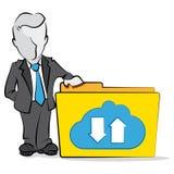 Affärsman och molnberäkning Arkivfoto
