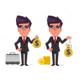 Affärsman- och pengarpåse - Arkivbilder