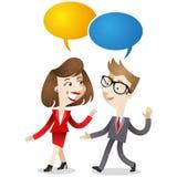 Affärsman och samtal för affärskvinna royaltyfri illustrationer