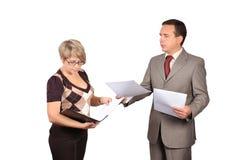 Affärsman och sekreterare royaltyfri foto