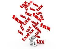 Affärsman och skatter, skattregn Arkivbild
