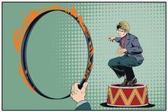 Affärsman på cirkussockel för illustrationorange för bakgrund ljust materiel Royaltyfri Fotografi