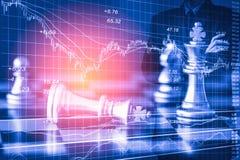 Affärsman på den finansiella digitala aktiemarknaden och schackbackgro Royaltyfri Foto